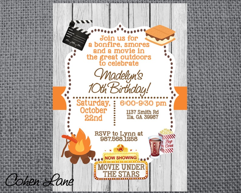 Printable Birthday Party Invitation Camping Invite Bonfire Smores And Outdoor Movie Fall
