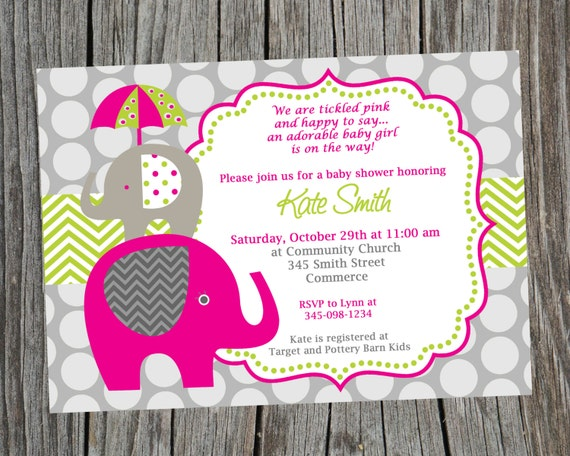 Elephant Invitation Baby Shower Invitation Elephant Shower Invite
