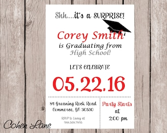 College surprise etsy graduation party invitation graduation invite high school graduate party college graduate invitation graduation party surprise party filmwisefo