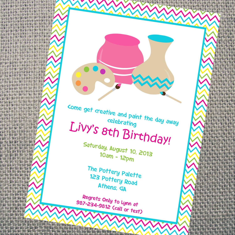Pottery Invitation. Custom Printable Pottery Party | Etsy