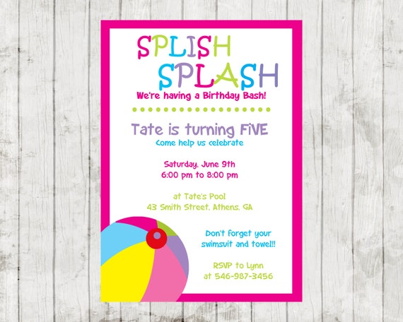 pool party birthday invitation back to school summer party girl