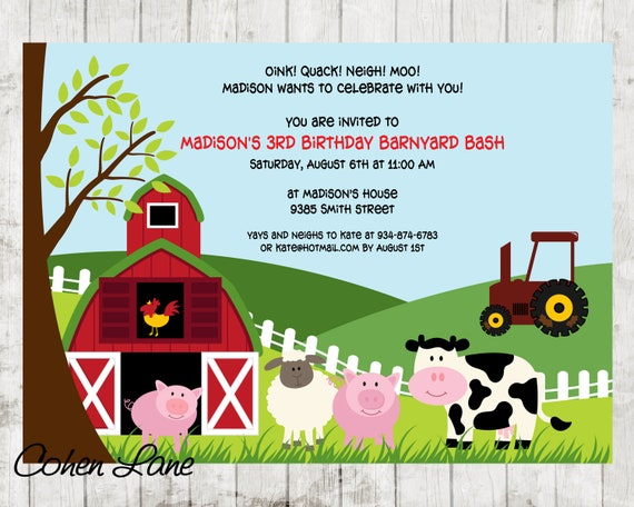 printable farm birthday party invitation barnyard invite etsy