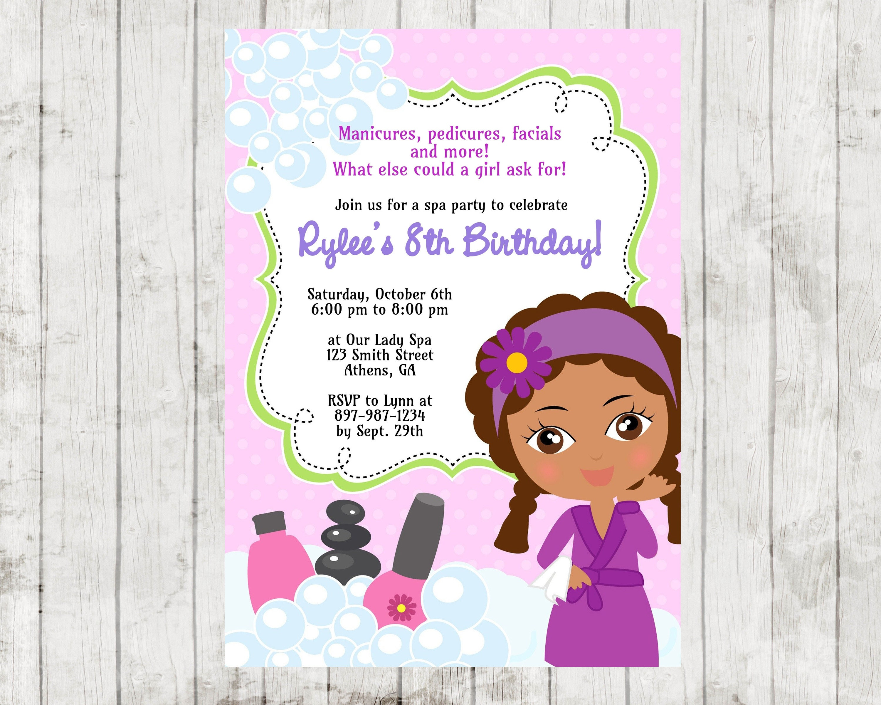 Printable African American Spa Birthday Party Invitation. | Etsy