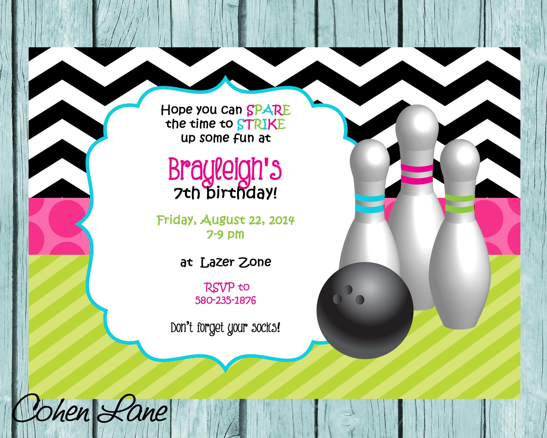 Bowling Invitation Birthday Party Invite Printable | Etsy