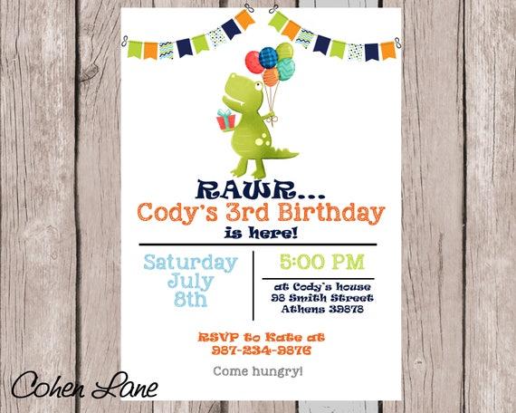 Dinosaur Birthday Invitation Dino Party Invite Digital