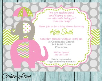 Pink and Green Elephant Baby Shower Invitation.  Printable Baby girl Chevron Elephant Shower Invitation. Pink and Green Shower Invite.
