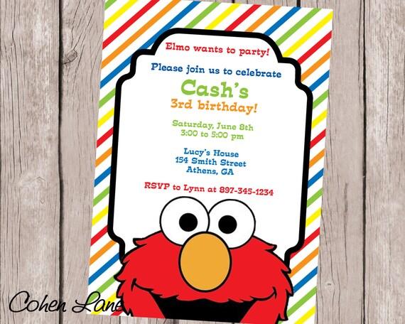 Printable Sesame Street Elmo Birthday Party Invitation