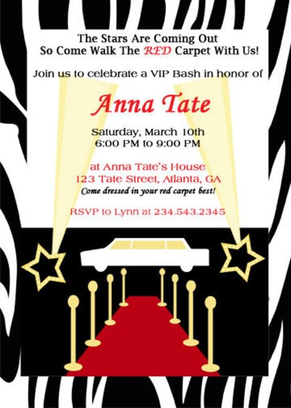 items similar to red carpet birthday party invitation on etsy