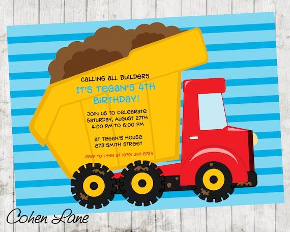 dump truck invite dump truck party dump truck birthday dump truck