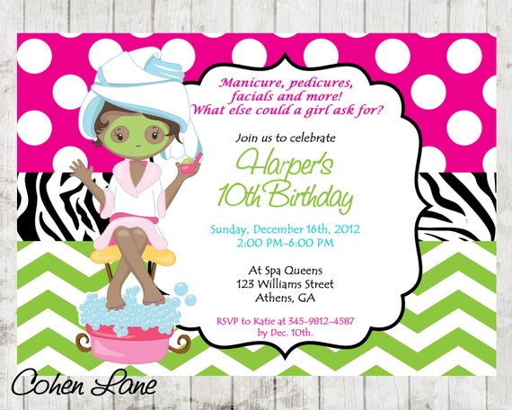 picture about Spa Party Printable named Spa Occasion Invitation, Spa Birthday, African American