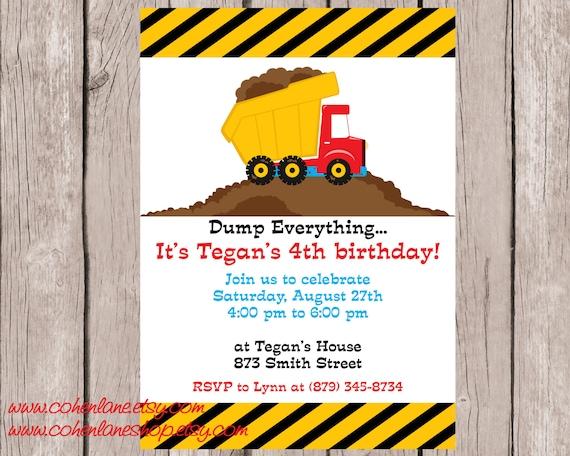dump truck invitation construction invite construction party