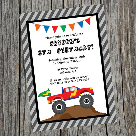 monster truck birthday party invitation by paper pretty designs