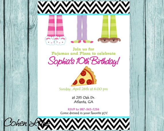 pajama party invitation sleepover invitation pajamas and pizza
