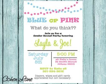 Gender Reveal Invitations, Blue Or Pink Gender Reveal Invite, Gender Reveal Invite, Baby Shower Invitation, Gender Reveal Party, Digital