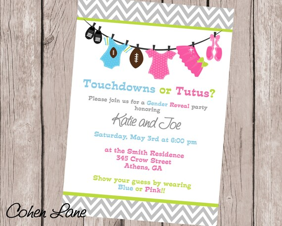 Gender Reveal Invitation Ideas Touchdowns Or Tutus Gender Etsy
