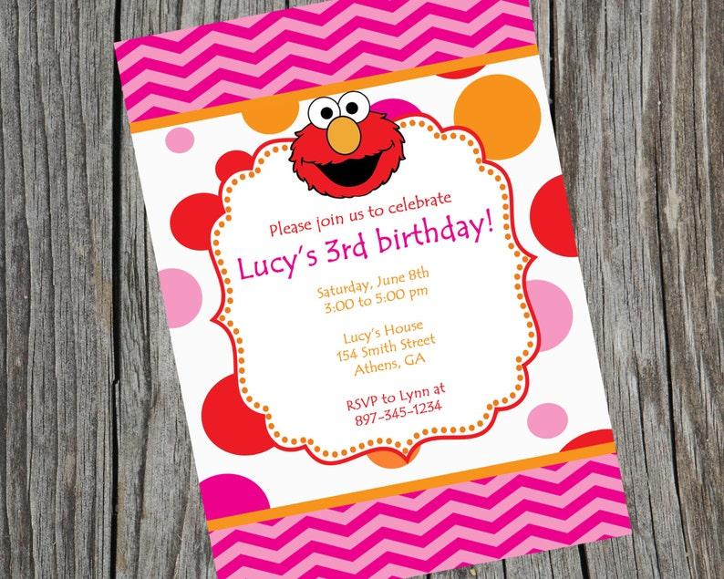 Printable Elmo Birthday Party Invitation Sesame Street
