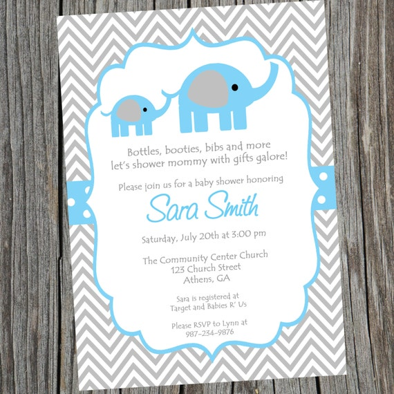 Elephant Invitation Baby Shower Invite Blue Elephant Shower Invite