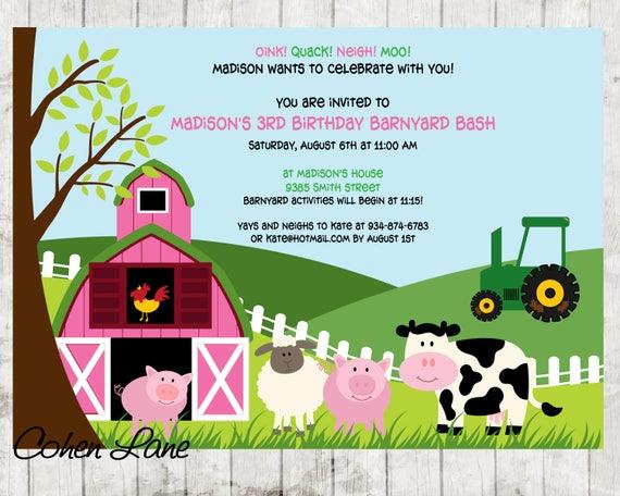 Pink Barn Invitation Farm Invite Petting Zoo Invitation Farm
