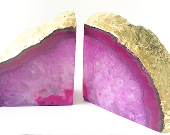 Pink Agate Bookends large Agate bookends gold Boho decor Geode bookends Agate Bookends Gold Office Decor Wedding Gift  Bridesmaids Gift