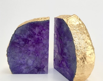 Agate Bookends  Purple Agate Boho Decor Crystal Natural Stone Geode Crystal Wedding Gift Bridesmaids Gift Agate Bookends Gold