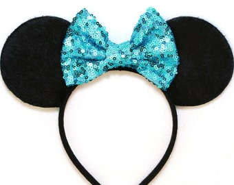 Minnie Mouse Ears Turquoise Sequin Bow - Mickey Mouse Ears Disney Ears Minnie Mouse Headband Sequin Minnie Mouse Bow Mickey Ears Minnie Ears