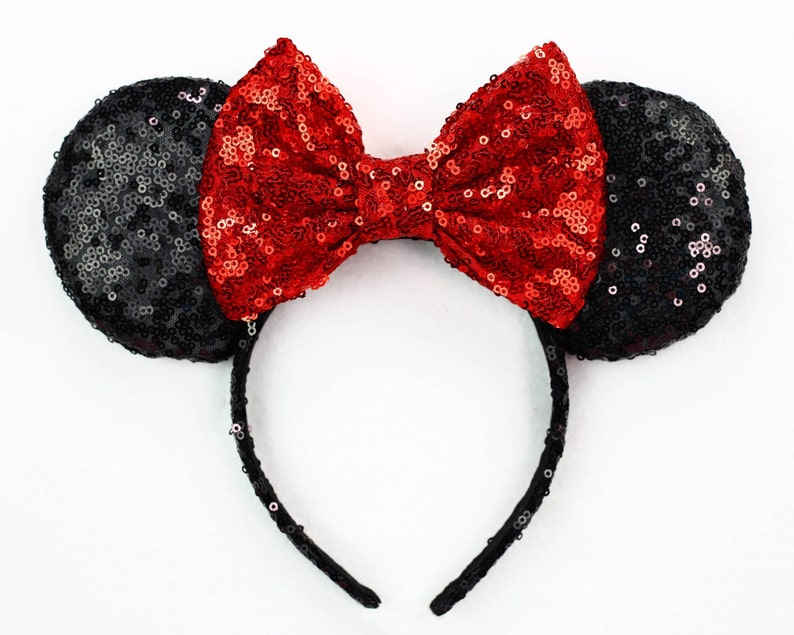 da0dfb859e5 Minnie Mouse Ears Red Bow Black Sequin Minnie Mouse Headband