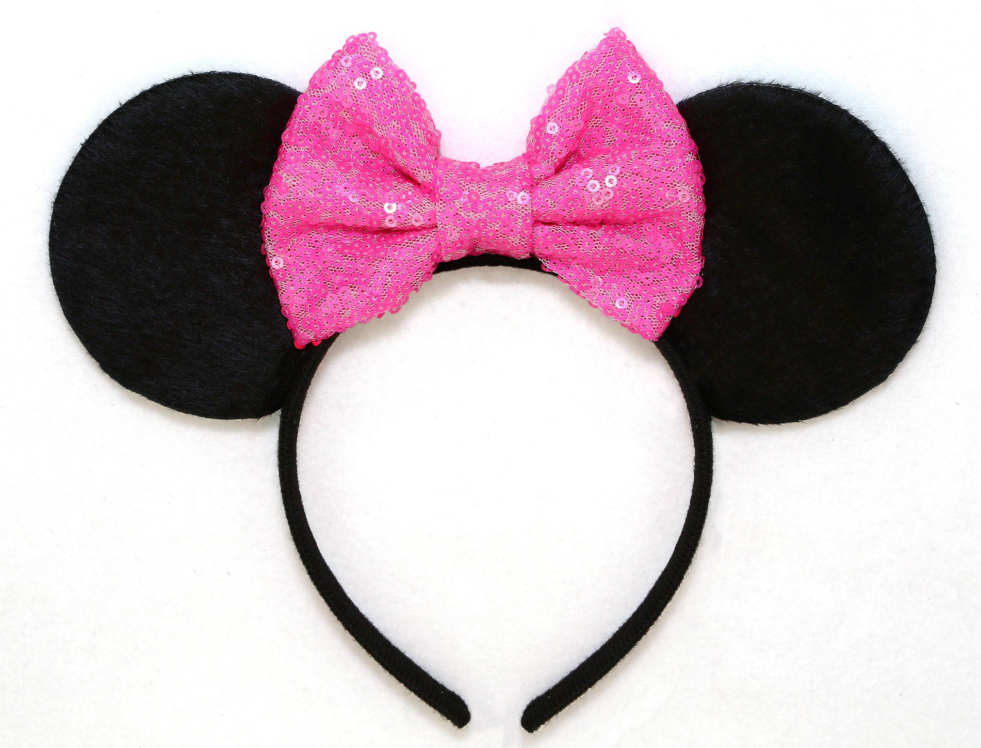 Minnie Mouse Ears Hot Pink Sequin Bow Mickey Mouse Ears