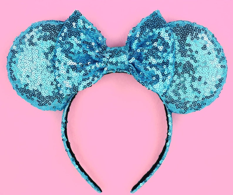 NEW Minnie Mickey Mouse Ears Headband Shimmer Black Sparkly Sequin Teal Blue Bow
