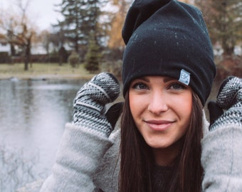 Black Bamboo Slouch Beanie- For every hat sold we match one for one to kids fighting cancer and women on the 1st of each month