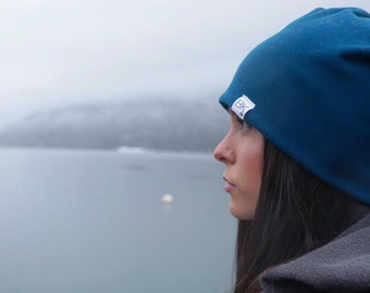 Moroccan Blue Bamboo Slouch Beanie- for every hat sold we donate a bamboo hat to a child fighting cancer