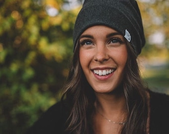 Charcoal Grey Bamboo Slouch Beanie- For every hat sold we donate a Bamboo hat to a child fighting Cancer