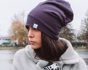 Plum Bamboo Slouch Beanie - For every hat sold we donate a bamboo hat to a child fighting cancer and women on the 1st of each month