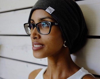 Bamboo Slouch Beanie in Charcoal   Cancer Beanie   Chemo hat   Chemo Headwear   Cancer caps