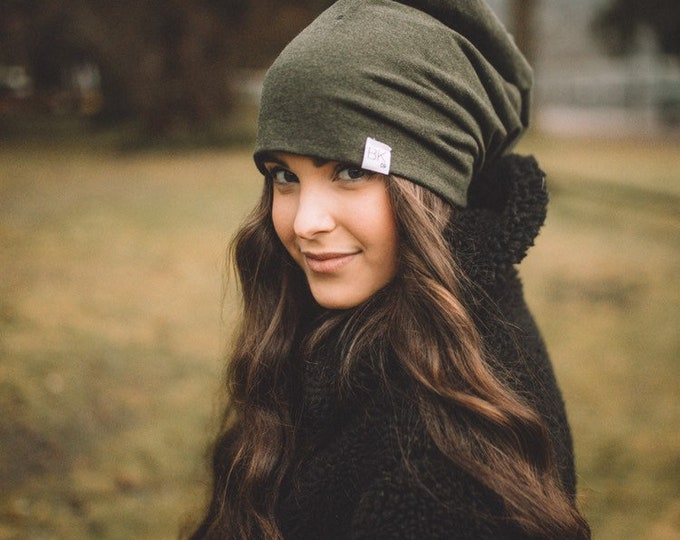 Featured listing image: Forest Green Bamboo Slouch Beanie For every hat sold we match one for one donations to kids fighting Cancer, Chemo hats #WrapThem In Bamboo