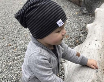 Bamboo Slouch Beanie Charcoal and Black Stripes   Cancer Beanie   Chemo hat   Chemo Headwear   Cancer caps