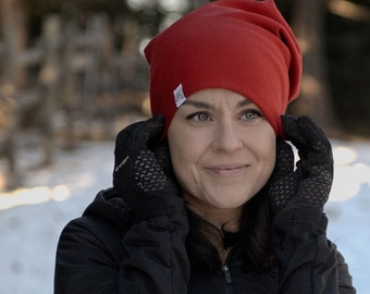 NEW!! Cardinal Red Bamboo Slouch Beanie- For every hat sold we match one for one to Children fighting cancer