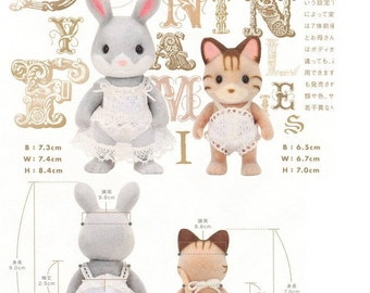 PDF Sylvanian Family 2 Lingerie Sets Sewing Pattern English templates names and Sewing key included