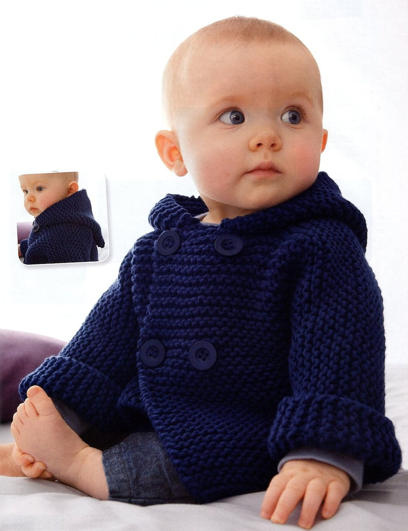 73ebc8814 ENGLISH Garter Stitch Baby Hooded Jacket Beginner Knitting