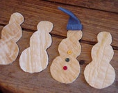 Primitive Snowmen Appliques Vintage Old Quilt Fabric Cutouts Winter Snowman Quilted Embellishments Art Craft Supplies itsyourcountry