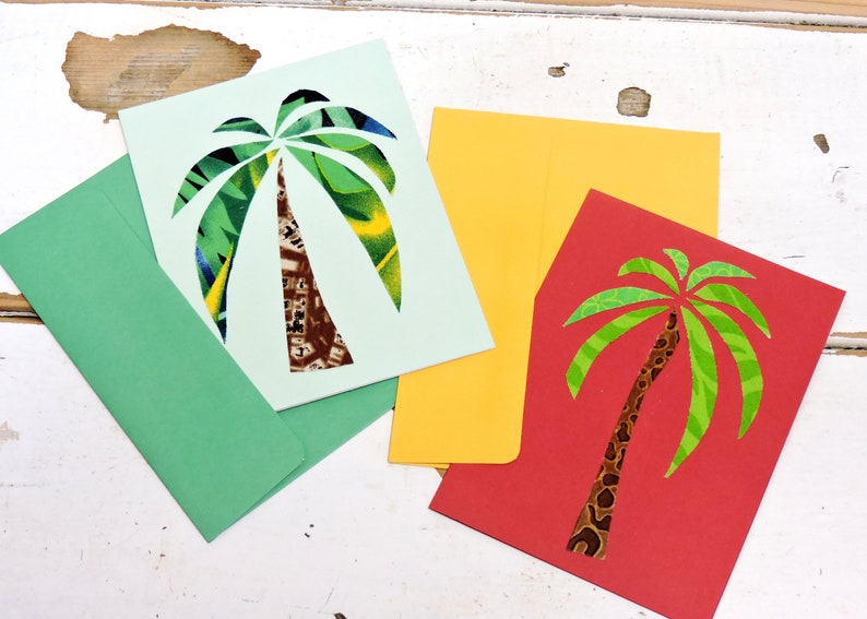 Tropical Beach Blank Greeting Cards Desert Original Textile Fiber Art Notecards Palm Tree Note Cards Handmade Stationery itsyourcountry