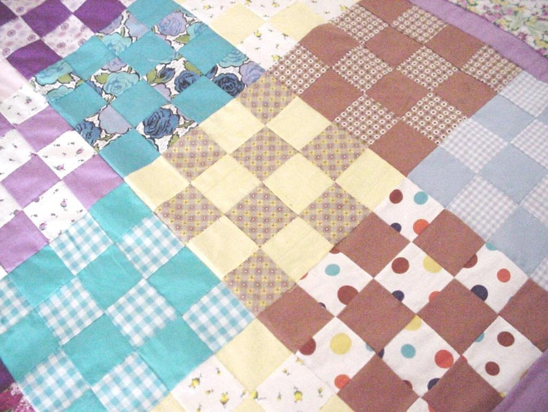 Vintage Quilt Top Feedsack 16 Patch Scrap Patchwork Quilt Top 51 x 67 Farmhouse Cottage Chic Home Decor itsyourcountry