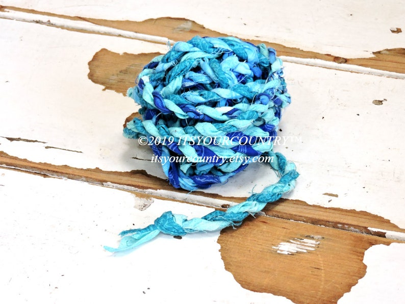 Craft Cord in Blues Cotton Rag Rope Tattered Hand-Twisted Fabric Twine Gift Wrap Ribbon Textile Fiber Chunky Art Yarn itsyourcountry