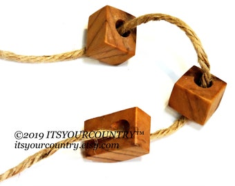 Teak Wood Beads Chunky Brown Wooden Vintage Irregular Square Beads Large Hole Unique Beads Macrame Jewelry Crafts itsyourcountry on etsy