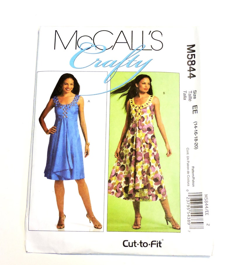 fa65cec4285 McCalls 5844 Sewing Pattern Misses Sleeveless Summer Sundress