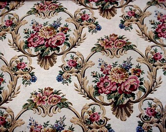 """Floral Tapestry Fabric, Vintage Rose Pattern Heavy Woven Upholstery Cotton Carpet Bag Material, almost 2 yards, 56"""" wide itsyourcountry"""