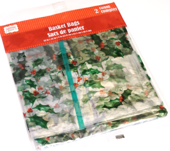 Christmas Cellophane Transparent Basket Bags 22 X 25 X 8 Etsy