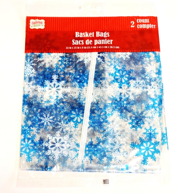 Silver /& White Snowflakes Christmas Large Cello Bags /& Ties x 20