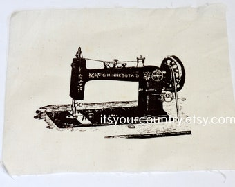 """Vintage Silk Screened Old Fashioned Sewing Machine Fabric Craft Panel Brown on Cotton Muslin 8 x 7"""" Minnesota itsyourcountry"""