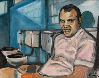 """9"""" x 12"""" Full Metal Jacket.  Vincent D'Onofrio seated on the toilet.  Oil on Canvas"""