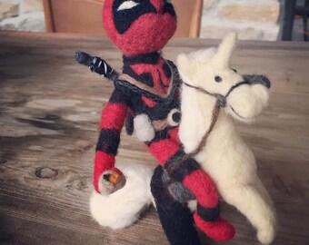 Limited Time Sale: Ryan Reynolds DeadPool Doll on a Unicorn holding a chimmichanga - Custom Order Adorawools